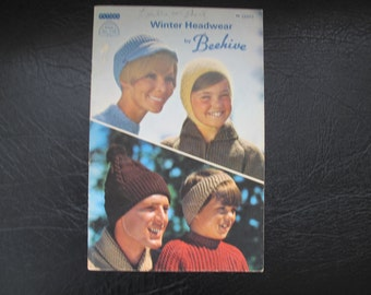 Winter Headwear by Beehive / Patons Book No. 118 / Hat knitting patterns