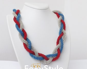 4 july red necklace white necklace blue necklace elegant necklace memorial day labor day independence day handmade gift everyday 4th of july