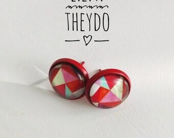 Geometric Stud Earrings Glass Cabochon