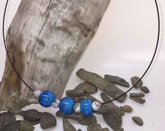 Choker with 3 blue beads