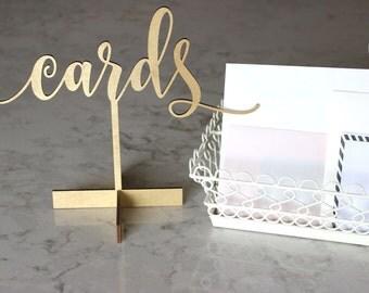 Laser Cut Card sign // Wedding sign // wedding decor // Free Standing wedding sign // Card Sign // Table top card sign