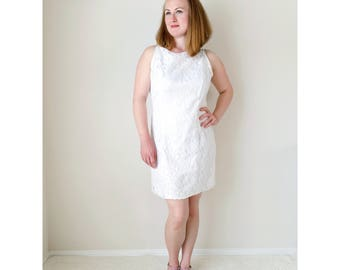 Vintage white dress | lace dress sleeveless high neck tank bridal shower engagement dress 1990s | Jessica McClintock Gunne Sax | size large