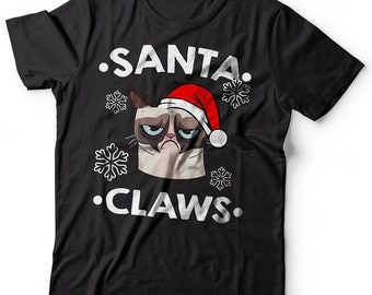 Santa Claws T-Shirt Funny Christmas Grumpy Cat Tee Shirt