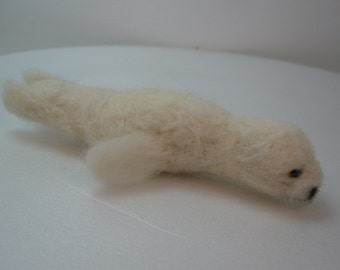 Needle felted seal pup