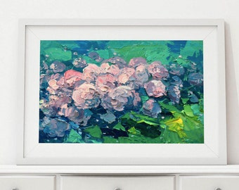 Hydrangea Painting Pink Hydrangea Flowers Painting Flower Abstract Painting Birthday Gifts for Women Christmas Gifts Grandmother Gifts Her