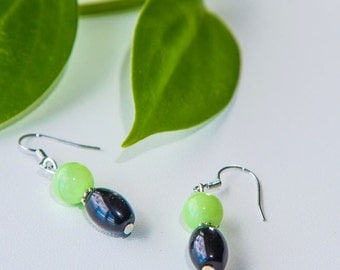 Black & Green Gemstone Earrings (Matching Necklace Available)