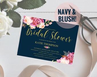 Bridal Shower Invitation, Floral Wedding Shower, Navy And Blush, Wedding Peonies, Boho Bridal Shower Invites, 5x7,  PDF, SKU# IDWS502_3513C