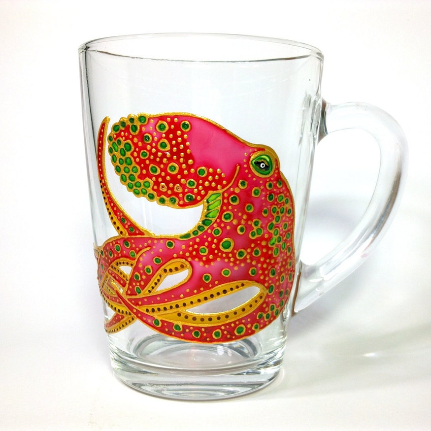 Hand Painted Glass Octopus Mug