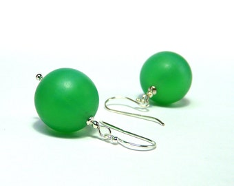 Earrings MINT GREEN GREENERY Bohemian glass beads vintage Silver 925