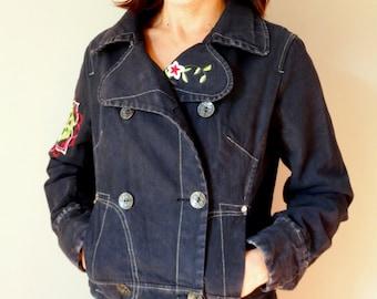 Womens oversized jacket denim bomber jacket women embroidered short jacket bomber black denim jacket Vintage 90s size M