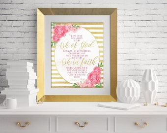 Young Women 2017 Theme, Ask of God, Ask in Faith, James 1:5-6, Digital Print