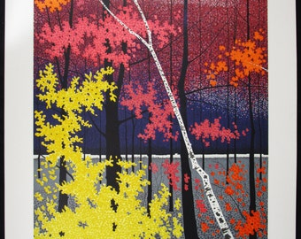 ROLLAND GOLDEN, Original Lithograph, Autumn Tapestry II, Signed Numbered, Free Shipping