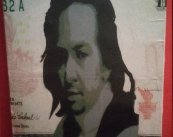 SALE PRICE Alexander Hamilton Lin Manuel Miranda spray paint painting
