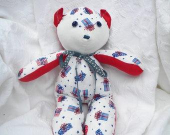 Shabby Chic Teddy Bear. Red white blue. Patriotic Decor. Vintage buttons. Home Decor. Nursery Decor. One-of-a-Kind.