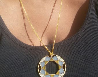 GEMSTONE Necklace | Resin Necklace | Geometric Necklace | Laser Cut Necklace | Wood Necklace | Gift for Her