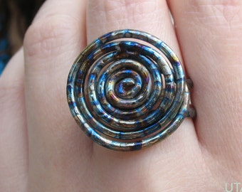 Wire Rose Ring Titanium Ring Wire Wrap Jewelry Eternity Jewelry Spiral Ring Round Ring Elegant Jewelry Geometric Jewelry Jewel Tones Jewelry