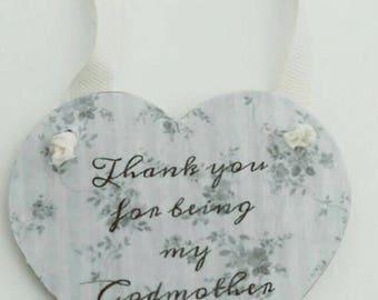 Godmother gift, thank you gift, christening, naming ceremony,  baptism, thank you godmother gift, hanging heart keepsake
