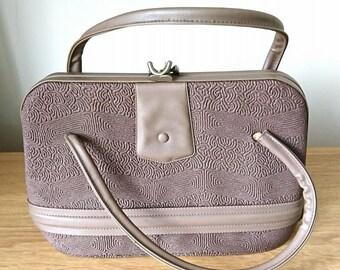 Vintage Handbag Brown Clutch Lever Bag Leather 1950's Bag Shoulder Bag