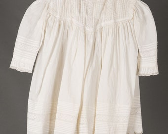 Antique Little Girl's 3T Dress in white cotton with full scallop edged skirt