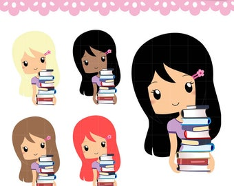 Chibi Library Study and Reading Clipart, Kawaii Clip art Characters Set for planner stickers, scrapbooking, paperclips. Commercial Use OK