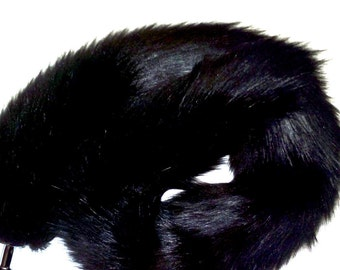 "Cat Tail Extra Long 81 cm (32"") Jet Black Faux Fur with Gold or Silver Metal Plug  or Pink Silicone Plug"
