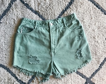 Green High Waisted Cutoffs