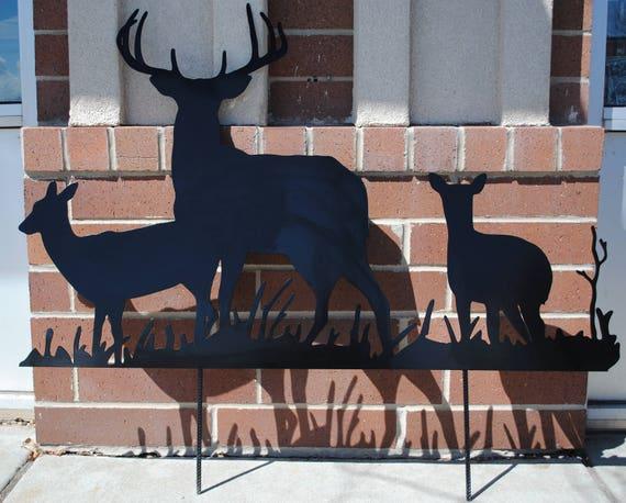 Deer Metal Garden Art, Buck Yard Art, Doe Yard Art, Fawn Yard Art, Heard of Deer, Metal Yard Art, Lawn Ornament, Deer Silhouette, Outdoors
