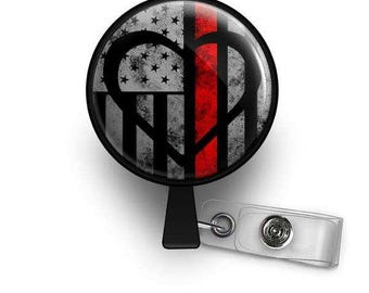 Thin Red Line Symbolic Retractable ID Badge Reel