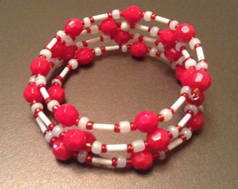 Red & White Beaded Memory Wire Bracelet