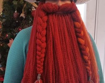 Hand Crocheted Viking Dwarven Battle Helm with Detachable Beard