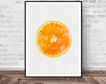 Orange Print, Orange Printable, Orange Decor, Fruit Print, Orange Fruit Print, Colourful, Modern Minimal, Wall Art Gift, Instant Download