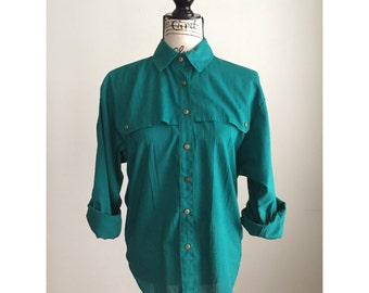 Vintage 1980s Button Front Shirt, 80s Teal Shirt, Vintage Button Front Shirt, Vintage Shirt