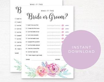Bride or Groom Editable Game / Printable Bridal Shower Game / Bridal Game Pack / He said She said / Instant Download / Bachelorette Games