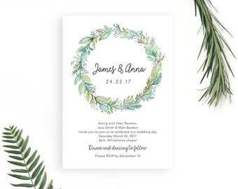 Printable Wedding Invitation Rustic Woodland Watercolour Invitation // Forest Wreath Invitation // Boho Wedding Invitation // Rustic Wedding