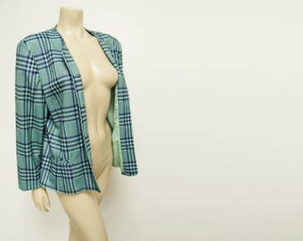 Vintage Tartan Jacket, UK16, 1990s, Vintage Clothing, Ladies Clothing, Green, Scottish Chic, Jacket, Hipster, Festival Clothes