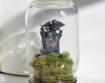 Beetlejuice Grave Polymer Clay Sculpture Mason Jar Terrarium Diorama