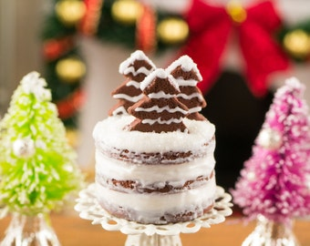 Gingerbread Naked Cake with Cake Stand - 1:12 Dollhouse Miniature