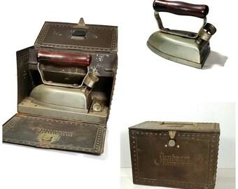 ANTIQUE ELECTRIC IRON In Storage Box Vintage Sunbeam Electric Iron 1900s Display Prop Antique Iron Clothes Iron