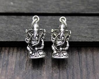 Sterling Silver Ganesha Charm Pendant, Ganesh Pendant, Garnesh, Lord Ganesha, Elephant God