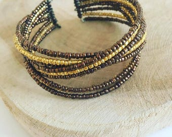 "Bracelet memory ""Brown Golden pearls"""