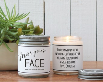 Miss Your Face And The Rest Of You Too Soy Candle - Miss You Gift | Thinking of you Gift | Send a Gift | Birthday Gift | Long Distance Gift