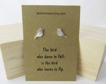 Silver Stud earrings, Stud Earrings Silver, Inspirational Jewelry, Bird earrings, Bird studs, Bird jewelry, Gift for her.