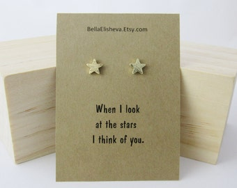 Star Earrings, Star Studs For Her, Dainty Earrings, Post Earrings, Tiny Gold Studs, Everyday Earrings, Gift for Friend Best Friend gift