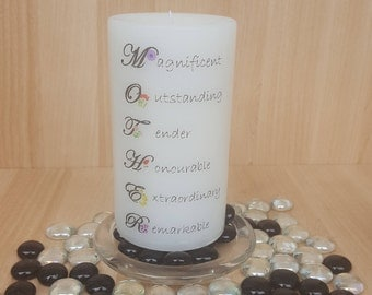 """Scented """"Mother"""" Candle/words to live by/key to happiness/great gift idea/a mothers love"""