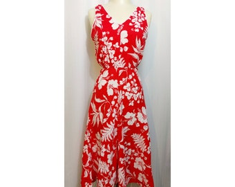 Red Hibiscus Print 70s Sundress