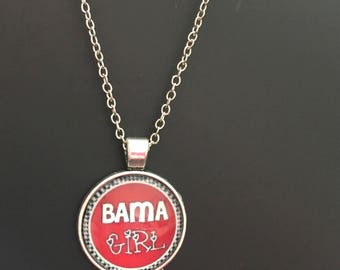 BAMA GIRL Rear View Mirror/ Necklace Car Charm Roll Tide National Champs University of Alabama