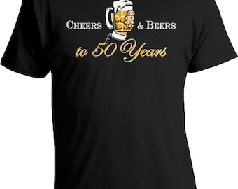 Personalized Birthday Gift 50th Birthday T Shirt Custom Age Bday Present For Him B Day Cheers And Beers To 50 Years Old Mens Tee DAT-822