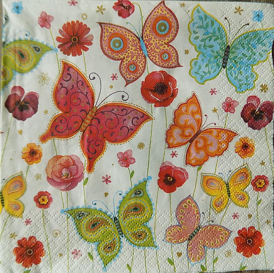 Sale 20 Off Vintage Style Floral Paper Napkins 4
