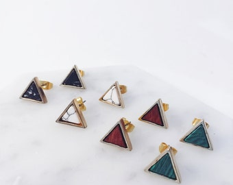 Triangle Pierce; marble pierce; marble earrings; howlite stone, black marble, howlite earrings