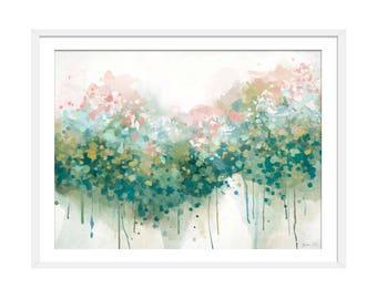 Floral Abstract Print. Abstract Art. Green Art. Abstract Painting. Abstract Floral Print. Floral Wall Art. Wall Decor.